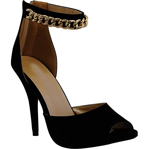 Ladies Women's Black Faux Suede Gold Chain Ankle Strap Cuff Stiletto Strappy Sandals High Heels Peep Toes Shoes 3-8 Black