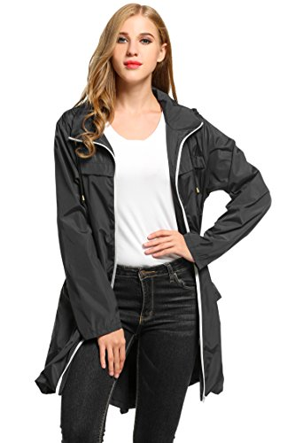 HOTOUCH Ladies Rain Mac Parka Fishtail Festival Raincoat Hooded Jacket(Black,L)