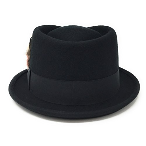 Removable Feather Luxurious Premium Wool Pork Pie Hat Diamond Crown Lined