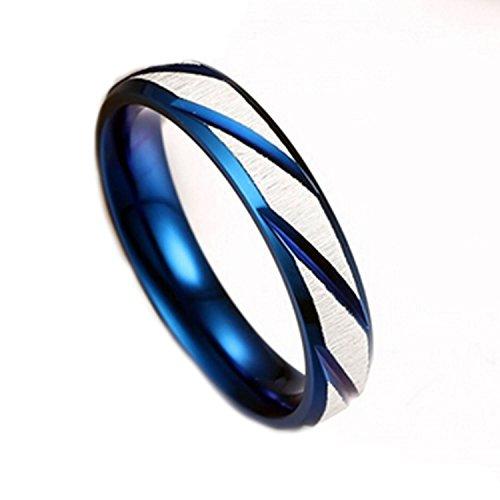 NALATI Bague en Acier Inoxydable raye Bleu Blanc deux tons Anneau Alliance Mariage Fiancailles pour Couples Femme Homm Large 6 4mm
