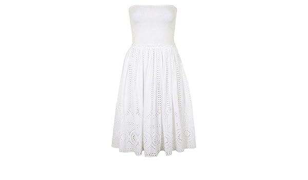 Topshop Smocked Bandeau Bodice Eyelet Embroidered Dress White (UK 6): Amazon.co.uk: Clothing