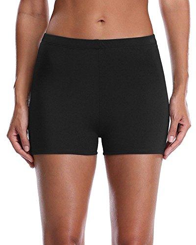 Lever Badeshorts Badehose Damen High Waist Bikinihose Schwimmhose Sport Bikini Shorts UV Schutz Bade Hotpants Schwarz S UK8