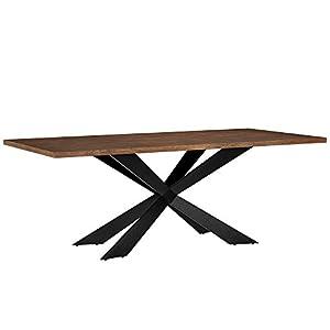 [en.casa] Esszimmertisch für 6-8 Stühle Walnuss 200x100cm Holz rechteckig Esszimmer Wohnzimmer