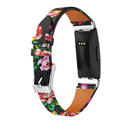 Amuse-MIUMIU Uhrenarmband Lederbänder Lederarmband Herren Damen Ersatzarmbänder Zubehör Edelstahl Faltschließe Armbänder für Fitbit Inspire/für Inspire HR 230mm (Rot) - Faltschließe Fitbit-armband