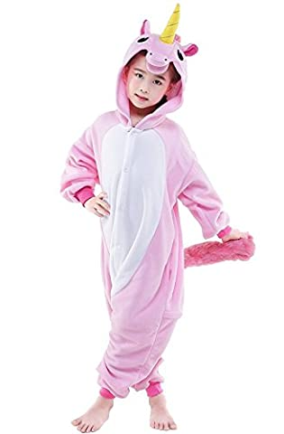 KiKa Monkey Kids Unicorn Cartoon Flannel Animal Novelty Costumes Cosplay Pajamas (Size 85:90-104cm, Pink)