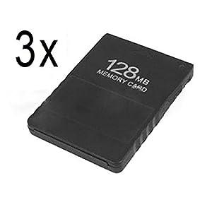 DARLINGTON & Sohns 3 Stück Speicherkarten für PS2 Playstation 2 Memory Cards 128 MB Memorycard Memory Card Speicher…