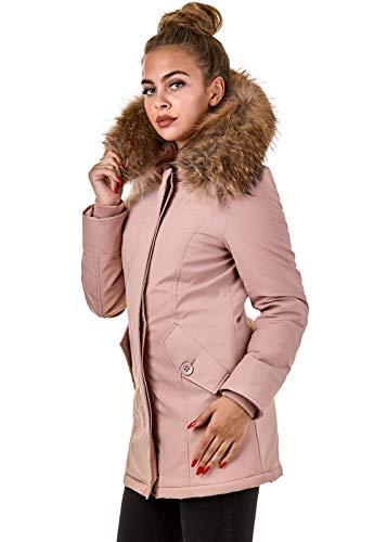 Damen Winterjacke Parka Echtfell Kapuze Schwarz Pink Creme Rot BR1828, Größe:S, Farbe:Stone Pink