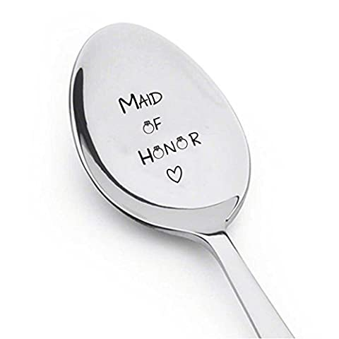 Maid d'honneur avec peu de bague et cœur–argenterie Cuillère–Wedding-personalized Spoon-gift-flatware-trendy-bridesmaid-gift mignon Cuillère–gravé Cuillère–Cuillère Cadeau
