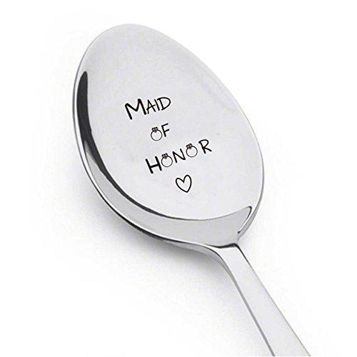 Boston Creative Company Maid of Honor mit Little Ring und Herz-Besteck Löffel-Wedding-Personalized Spoon-Gift-Flatware-trendy-Bridesmaid-Gift niedliche Löffel-Gravur Löffel-Löffel Geschenk