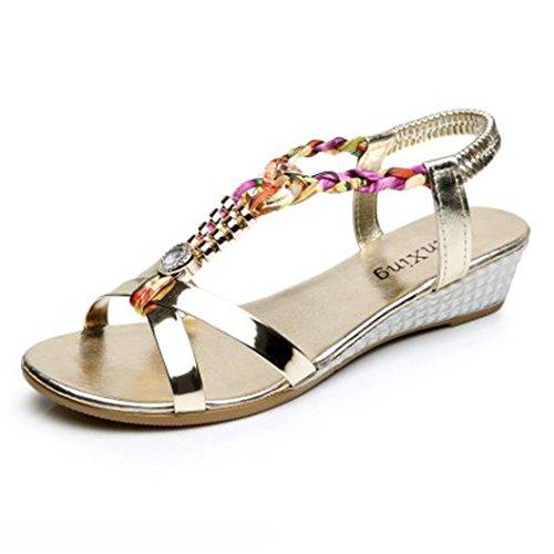 Sandalias mujer, Manadlian Moda Sandalias casuales Sandalias planas de mujer de verano Zapatos de playa (CN 37, Oro)