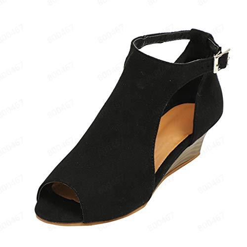 Fenverk Damen Sommer Sandaletten Mit Absat Sandalen High Heel Spitz Pumps Retro RöMersandalen Abendschuhe Rockabilly Hochzeit Schuhe Hohen AbsäTzen Peeptoe Gr. 35-43(Black,36 EU) -