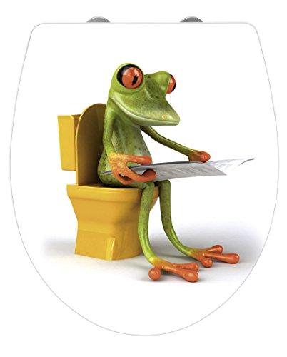 WENKO 21758100 Premium WC-Sitz Hochglanz Acryl Frog News Toilettensitz, Absenkautomatik, Fix-Clip Hygiene Befestigung, 38,8 x 45 cm, weiß