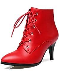 Las Mujeres señalaron los Botines del Dedo del pie Cordones Zapatos de Cuero Finos Tacones Altos