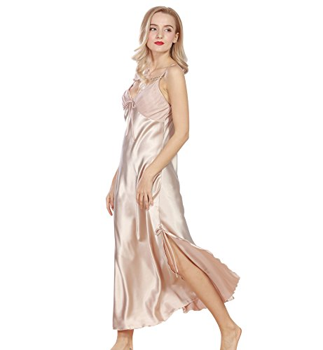 surenow-womens-polyester-satin-nightgown-straps-long-silky-sling-nightdress-lace-trimmed-side-slit-v