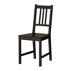"""Ikea - Chaise """"Stefan"""" En Bois De Cuisine En Pin Massif - Noir Brun"""