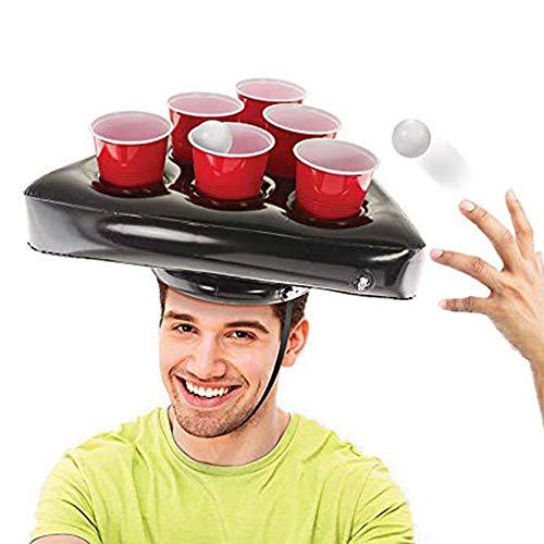 Forwei Aufblasbare Pong Hut Spiel Set Hut Bier Hüte Ringe werfen Spiel Spaß Rasen Spiel Spielzeug Werfen Ring Erwachsene Kinder Zwinge Werkzeuge Weihnachten Halloween Prop (nur Hüte)