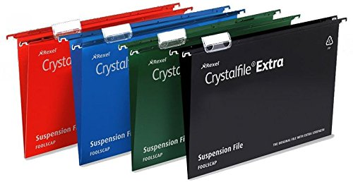Rexel Crystalfile Extra Suspension File Polypropylene 50mm Foolscap Black Ref 3000115 [Pack of 25] Reviews