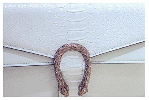Damen PU-Leder Platz Kette Handtasche Schultertasche Umhängetasche Crossbody Business-Tasche Beige