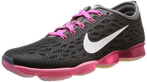 Nike Wmns Zoom Fit Agility, Scarpe sportive, Donna Black/White-Pink Pow-Cool Grey
