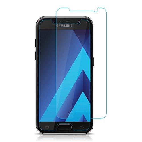 ELZO Samsung Galaxy A3 2017 Panzerglas Schutzfolie, Panzerglasfolie, [2 Stück] Displayschutzfolie/Bildschirmschutz/Gehärtetes ballistisches Glas/Prämie Schützen Film - Kristall Klar/Ultra Dünn 0.26mm
