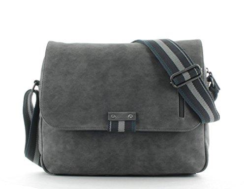 s.Oliver RED LABEL Herren Messenger Bag mit Vintage-Effekt grey 1 (Vintage Luggage Label)
