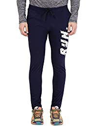 American-Elm Men's Nevy Blue Stylish Printed Trackpant for Men