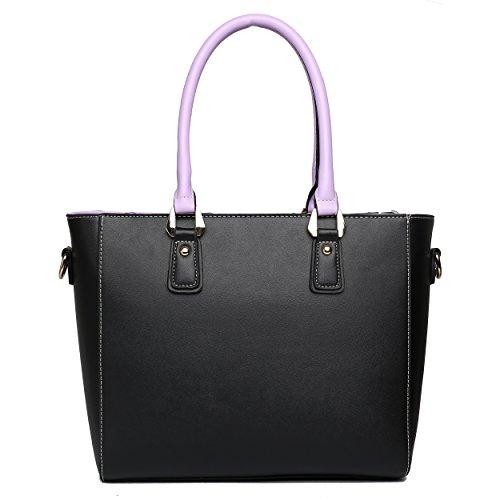 Miss Lulu Damen Umhängetaschen tote PU Handtaschen V Patchwork Reißverschluss Stil mit zwei Innen Offene Taschen und eine lange Gurt violett