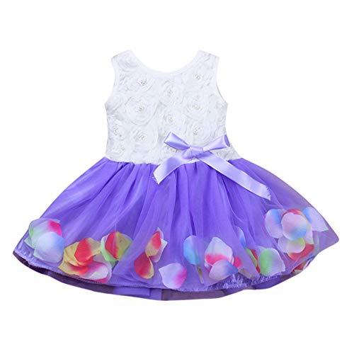 Kostüm Ballett Festival Blume - INLLADDY Kleid Baby Mädchen ärmellose Perle Blume Blütenblatt Print Prinzessin Kleid Festival Hochzeit Kleid Party Kostüm Violett 1-2Jhare