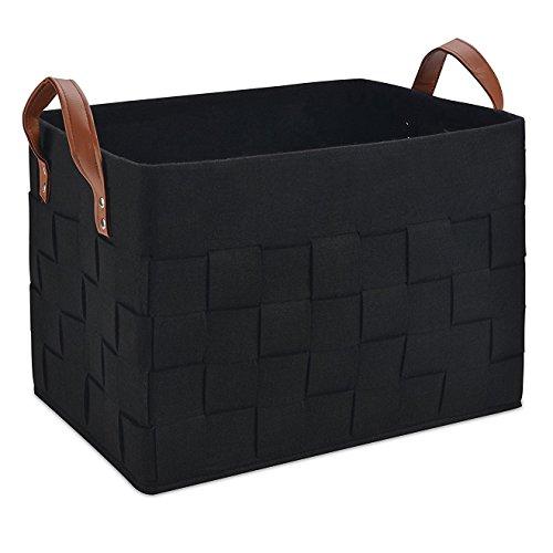 VANCORE TM Große, faltbare mit Wäsche Korb für Kleidung, Spielzeug, Babyprodukte-Fach, Filz, Felt-black, M