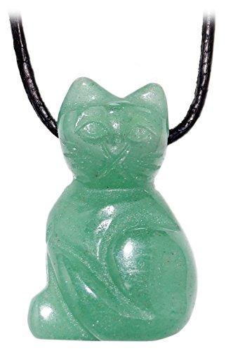 Kaltner Präsente Idée Cadeau–CHAÎNE en cuir pour homme et femme avec pendentif chat en le précieuse, Pierre précieuse