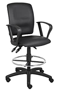 Boss Multi-Function Leatherplus Drafting Stool with Loop Arms by Boss Office Products