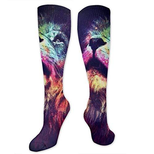 ocks King Lion Galaxy Face Knee High Compression Stockings Athletic Socks Personalized Gift Socks Men Women Teens Girls ()