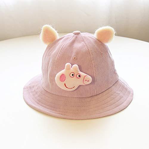 ChildHat 2018 Hut für Kinder,Baby Hut weiches Mädchen wenig gelben Hut frisch Baby Hut Ohr Eltern Hut DIY Cord Kind, Ferkel - Lila, Plus M Erwachsene (57CM)