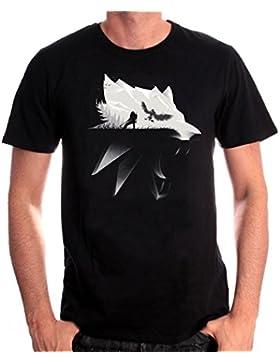 Witcher camiseta para hombre de la silueta del lobo Geralt de algodón negro Riva Wild Hunt