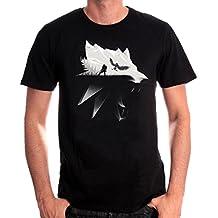 Witcher Herren T-Shirt Wolf Silhouette Geralt von Riva Wild Hunt Baumwolle schwarz