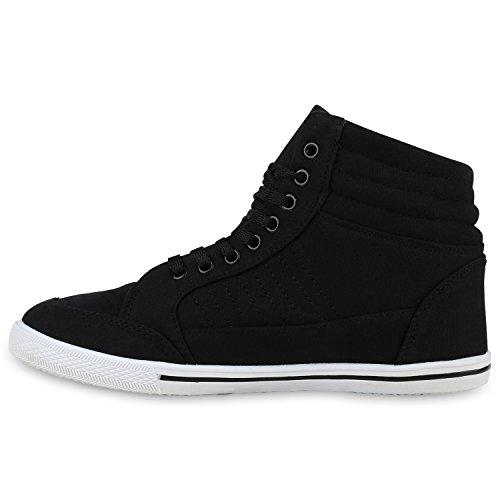 Damen High Top Sneakers Strass Zipper Sportschuhe Schwarz Straßsteine