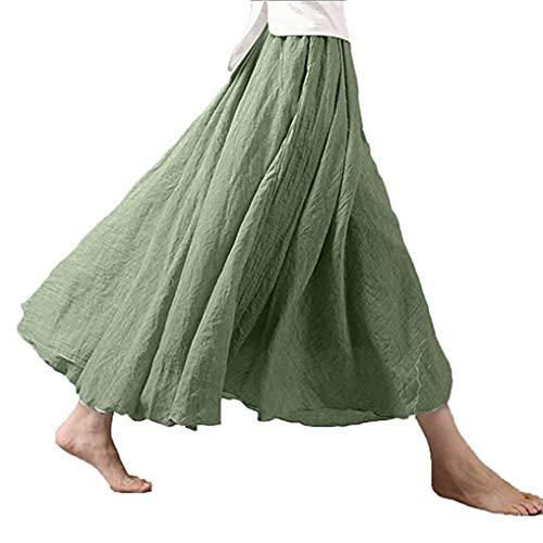 Damen Bohemian Maxi Rock Kleid elastische Taille Band Baumwolle Leinen Long Kleid