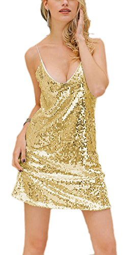 YwoolyJn Damen Einteilige Träger V-Neck Party Paillette Minikleid Gold M