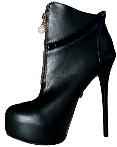 EROGANCE Kunstleder High Heels Plateau Stiefeletten schwarz EU 42 - 46 / A5044 Black