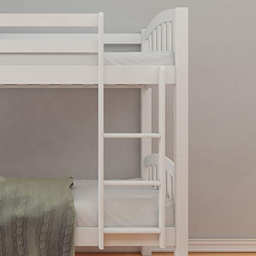 White Pine Bunk Bed, Happy Beds American Wood Traditional Twin Sleeper - 3ft Single (90 x 190 cm) with 2 x Orthopaedic Mattresses Included