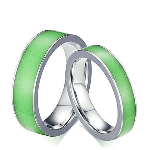 Aooaz Edesltahl Ring Unisex Silber Grün Ringe Breite 4MM Damen Ring Biker Hochzeit Ringe Größe 52 (16.6)