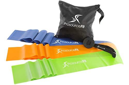 Therapie Flache Bänder (ProSource Therapie flach Widerstand Bands Set von 3je (6') für Stretching, Pilates, und Rehabilitation mit Tür Anker)