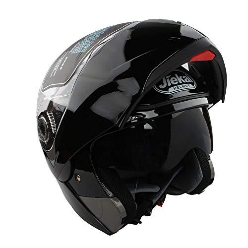 Estink Casco Integrale Moto, Vicera Casco Moto Scooter con Parasole Ventilazione Casco Pieghevole Moto Basso Rumore del Vento (Nero Brillante, XXL)