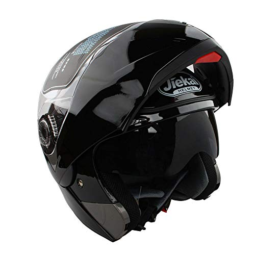 Casco de moto, Casco de moto modular de una pieza con visera negra · casco de moto ciclomotor