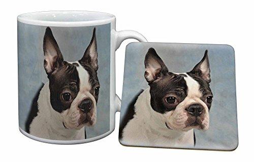 Advanta - Mug Coaster Set Boston -Terrier-Hund Becher und Untersetzer Tier Geschenk -