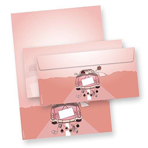 Briefpapier Set Hochzeit (25 Sets inkl. Kuverts) Präsentmappe mit Set Briefbögen und passenden Umschlägen für Hochzeit, Trauung.