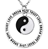 Inception Pro Infinite Halskette mit Anhänger - Yin und Yang - Geschrieben - Traum - Glauben - Hoffnung - Liebe - Dream Trust Hope Love