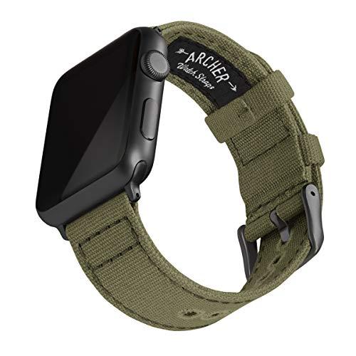 Archer Watch Straps - Canvas Uhrenarmband für Apple Watch (Blasses Olivgrün, Space Grau, 42/44mm) -