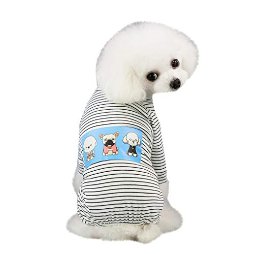 Hawkimin Haustier Hund Kleidung, Frühling und Sommer Mode Süß Atmungsaktiv Baumwolle Hundekostüm Vier Beine Freizeitkleidung Pyjama Pullover Puppy Hemd -