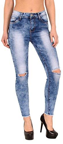 by-tex Jean femme skinny Jeans femmes taille haute pantalon en jean genoux jeans déchirés femme slim surdimensionner Z72 J311